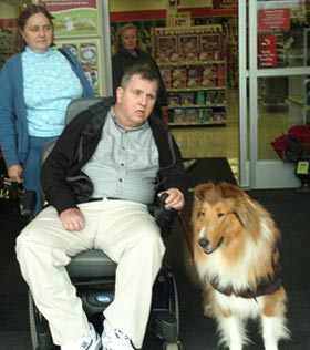 Kings Valley Collies service dog Brynn assisting with Scott.