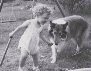 Kings Valley Collies owner Leslie Rappaport, as a child with her first collie, Angel.
