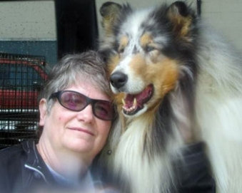 "Ch. Lochlaren Marleste It's Magic, TC ""Sammy"", pictured with Barbara Cleek of Lochloran Collies, is in training as a collie for mobility and support by Leslie Rappaport at Kings Valley Collies in Oregon."