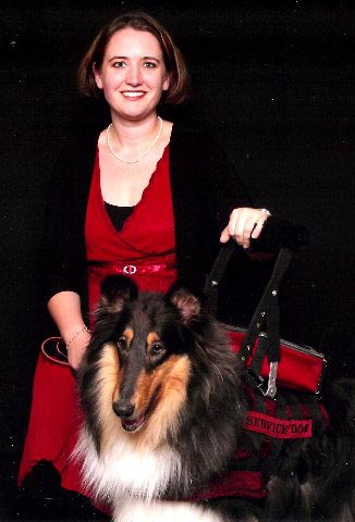 Indy is a trained collie from Kings Valley Collies in Corvallis, Oregon, who works with Hannah and helps her predict and cope with debilitating migraine headaches.